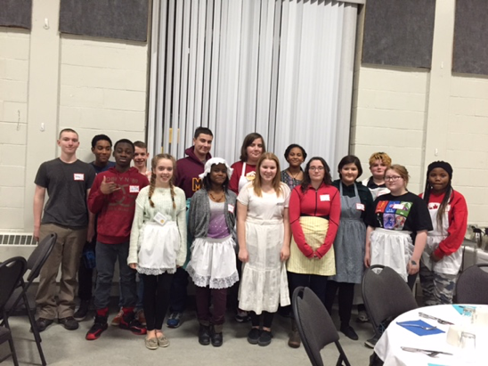 Youth serving Presbytery dinner